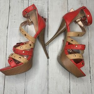 Liliana Coral + Tan Strappy Cross Studded Heels 10